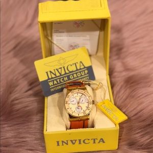 BN ladies Invicta Coral and Gold face watch